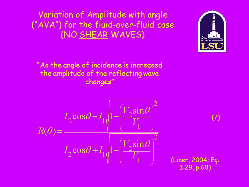 Variation of Amplitude with angle ( AVA ) for the fluid-over-fluid case (NO SHEAR WAVES)
