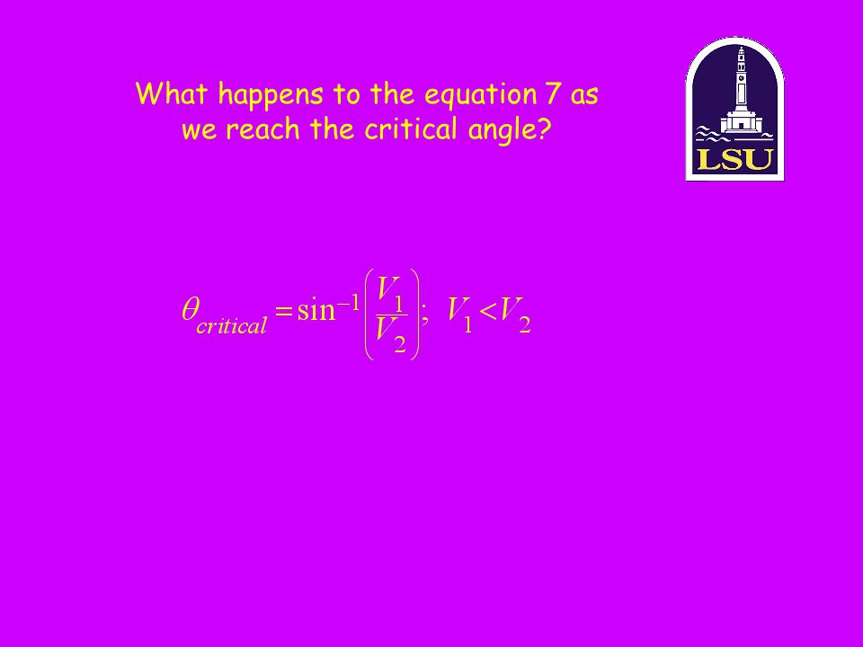 What happens to the equation 7 as we reach the critical angle