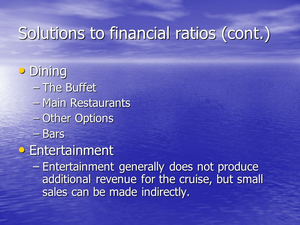 Solutions to financial ratios (cont.)