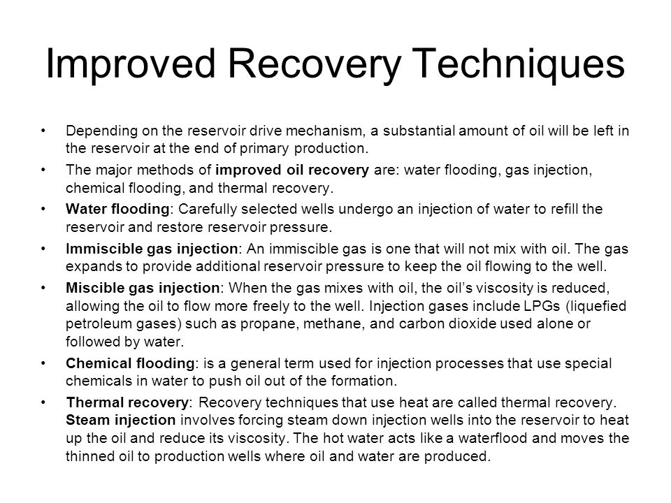 Improved Recovery Techniques