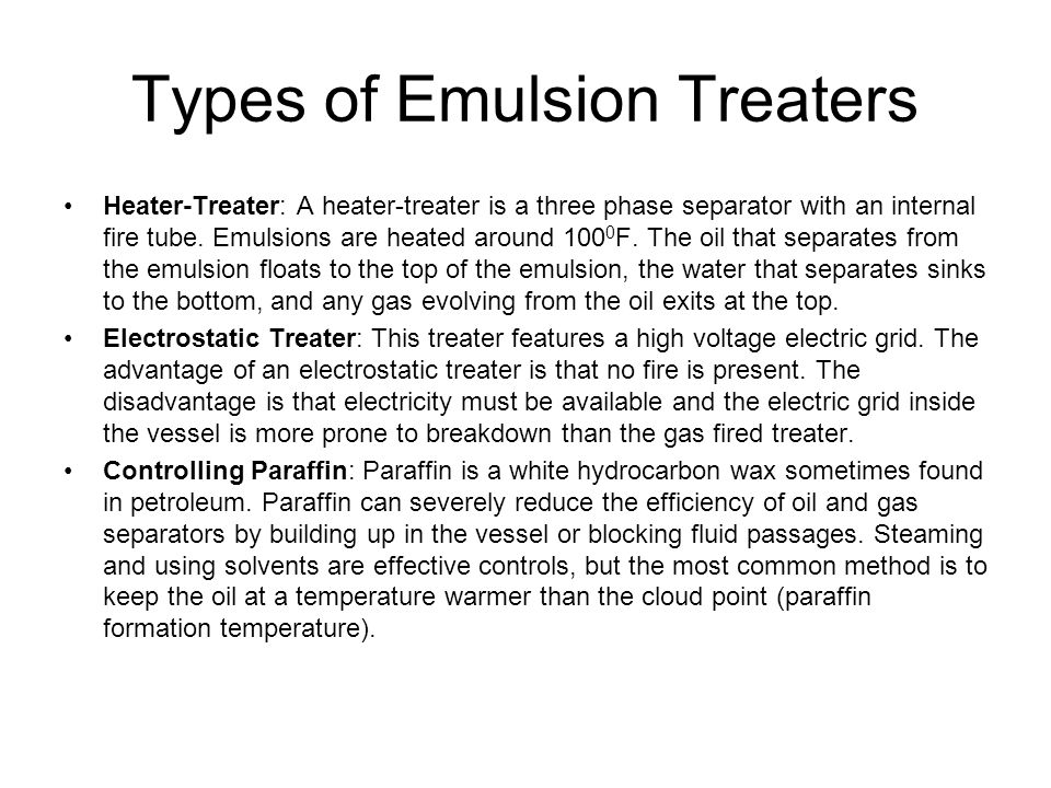 Types of Emulsion Treaters
