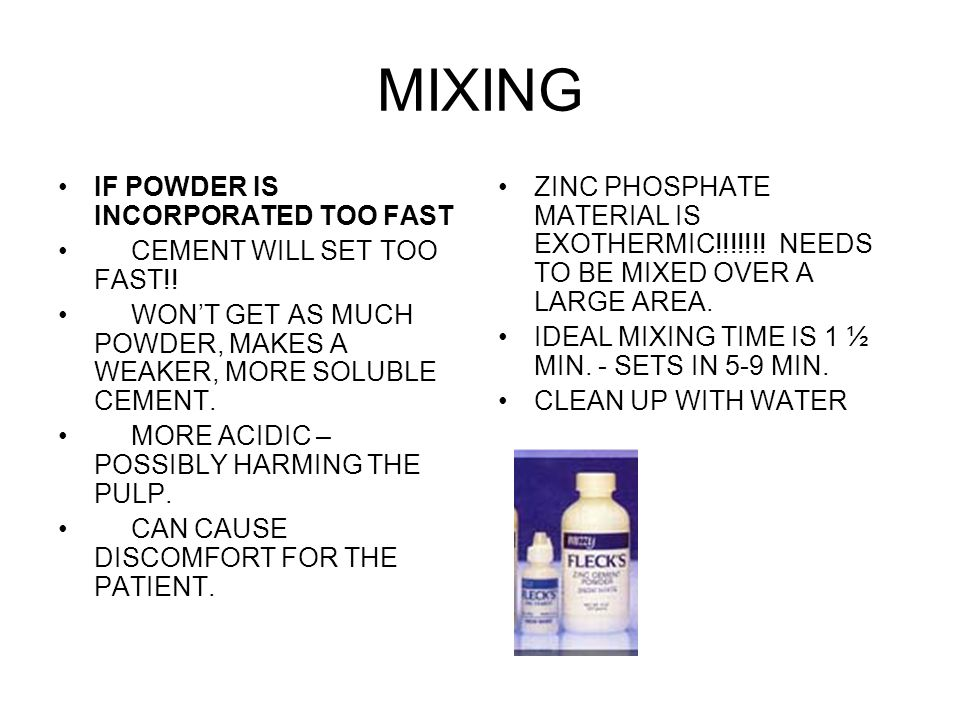 MIXING IF POWDER IS INCORPORATED TOO FAST CEMENT WILL SET TOO FAST!!