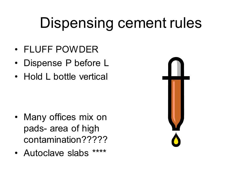 Dispensing cement rules