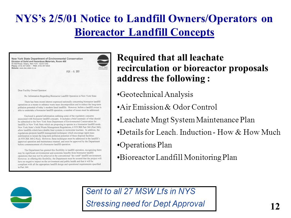 NYS's 2/5/01 Notice to Landfill Owners/Operators on Bioreactor Landfill Concepts
