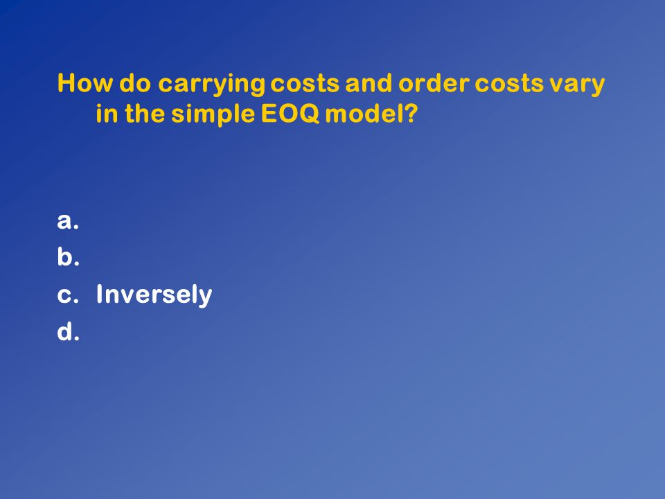 How do carrying costs and order costs vary in the simple EOQ model