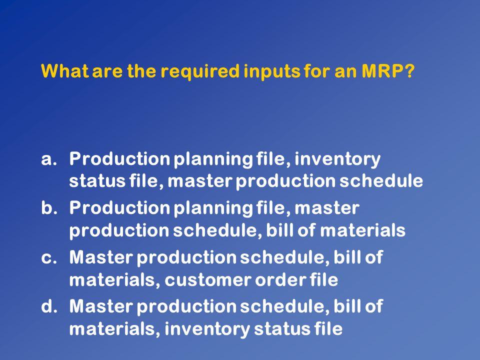 What are the required inputs for an MRP