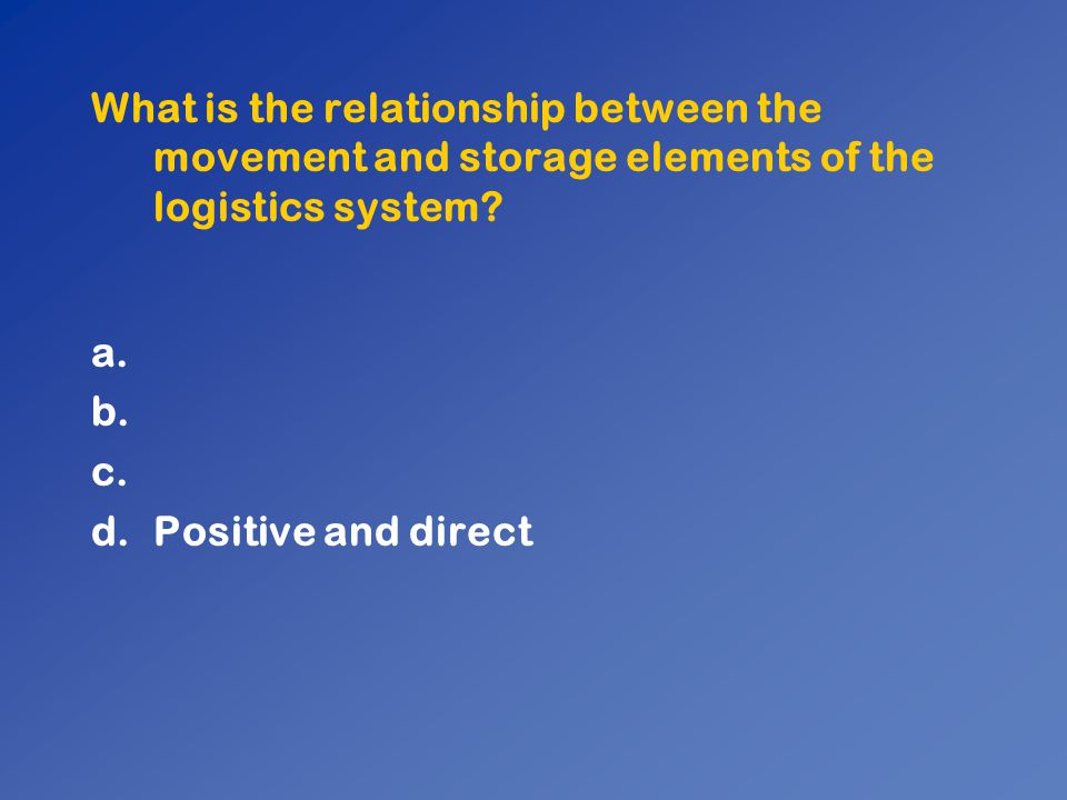 What is the relationship between the movement and storage elements of the logistics system