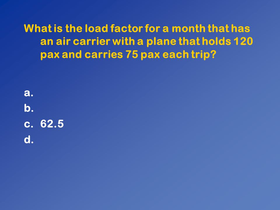 What is the load factor for a month that has an air carrier with a plane that holds 120 pax and carries 75 pax each trip
