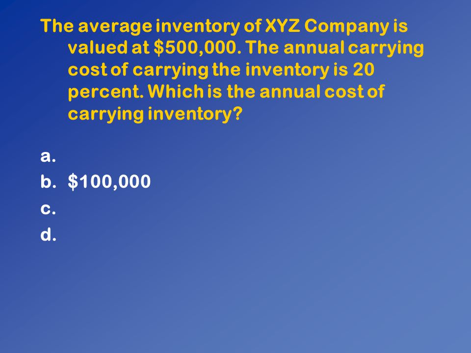 The average inventory of XYZ Company is valued at $500,000