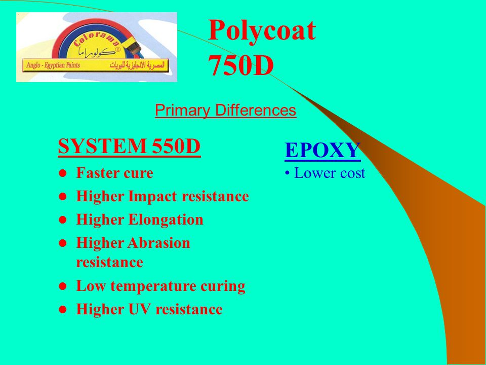 Polycoat 750D SYSTEM 550D EPOXY Primary Differences Faster cure