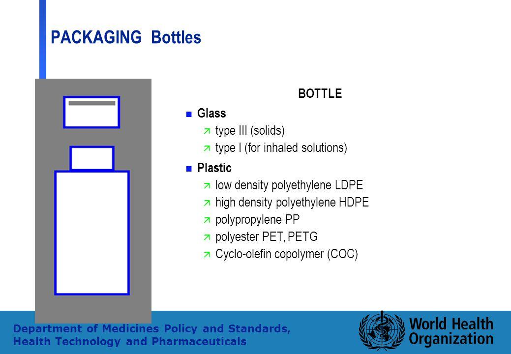 type I (for inhaled solutions) Plastic low density polyethylene LDPE