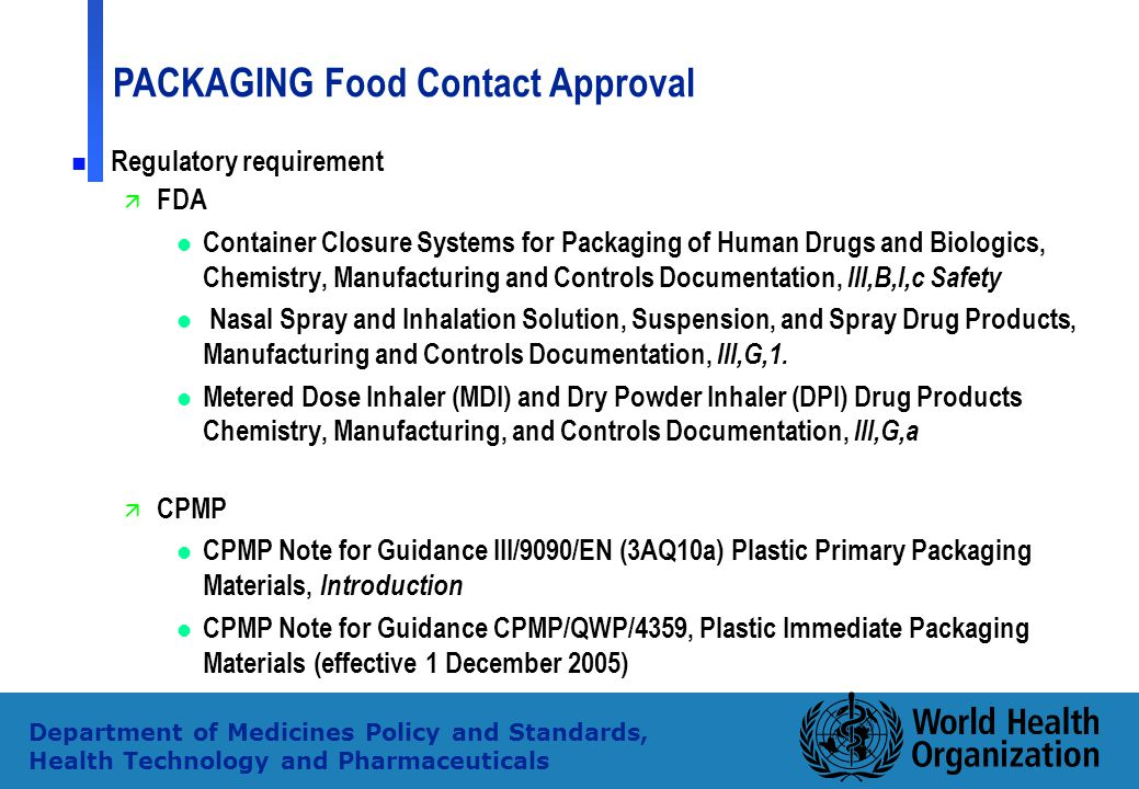 Regulatory requirement FDA