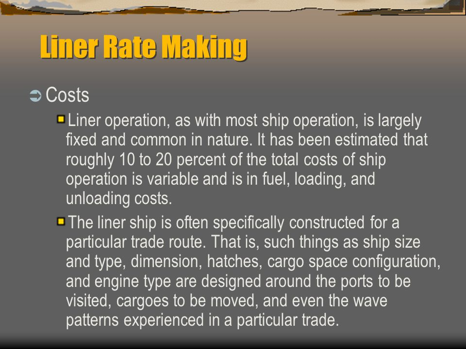 Liner Rate Making Costs