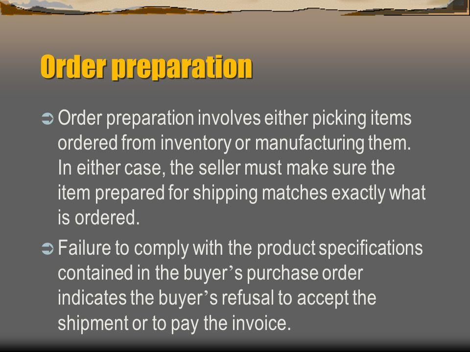 Order preparation