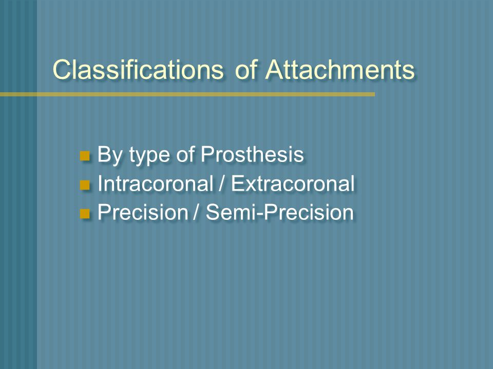Classifications of Attachments