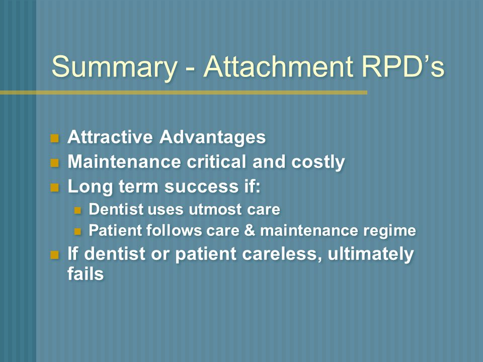 Summary - Attachment RPD's
