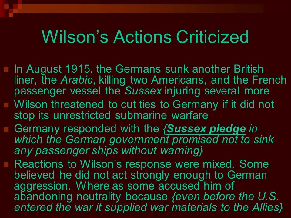 Wilson's Actions Criticized