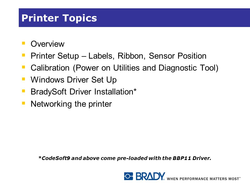 Printer Topics Overview