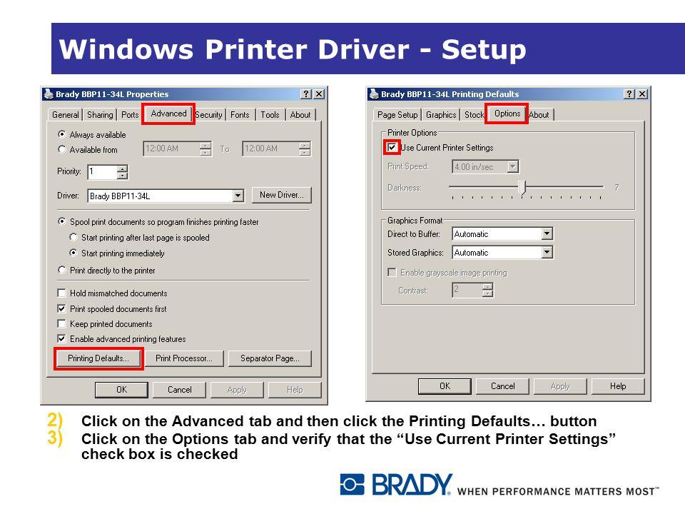 Windows Printer Driver - Setup
