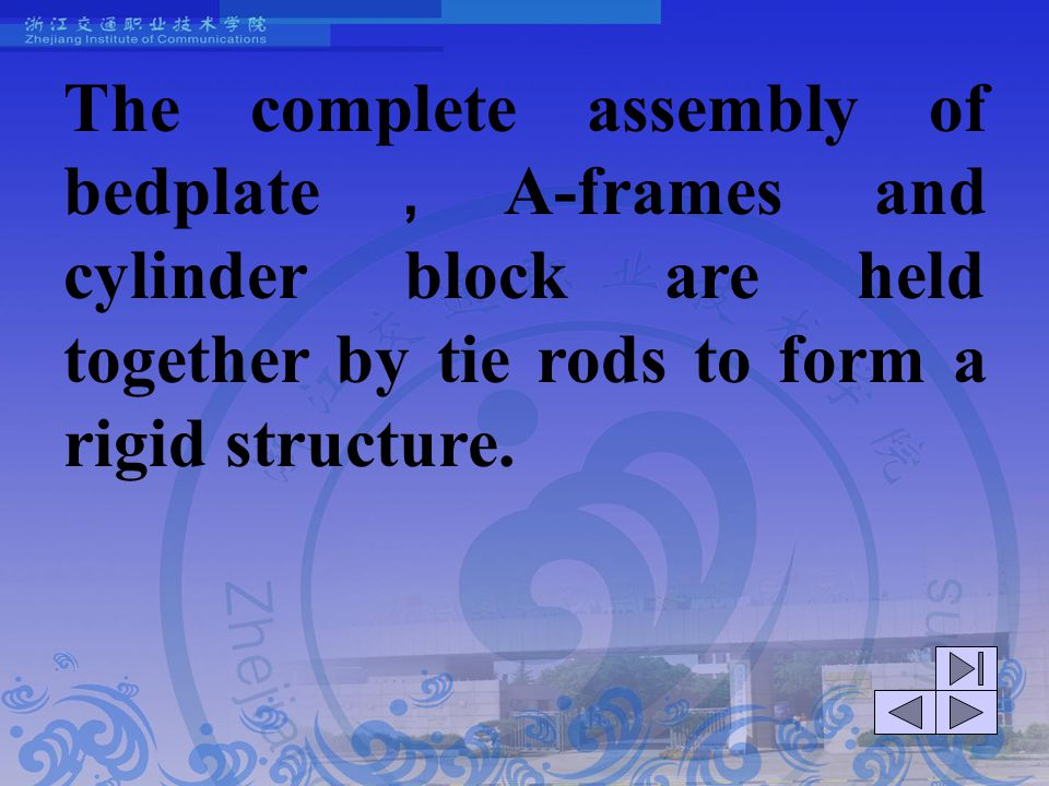 The complete assembly of bedplate,A-frames and cylinder block are held together by tie rods to form a rigid structure.