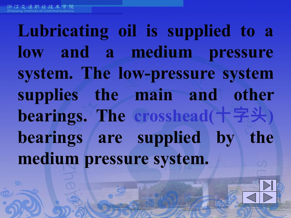 Lubricating oil is supplied to a low and a medium pressure system