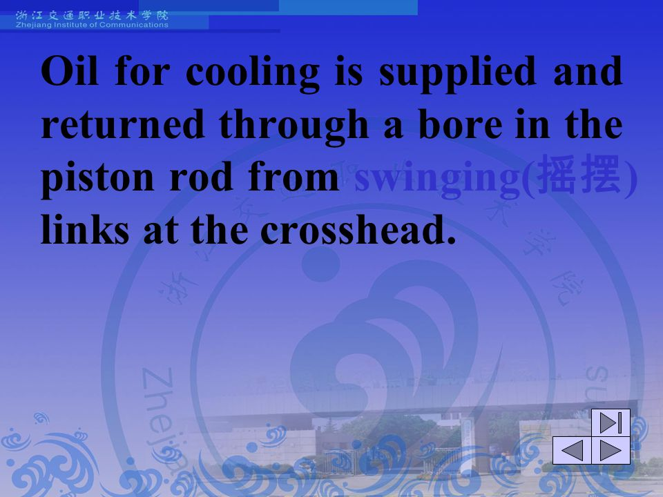 Oil for cooling is supplied and returned through a bore in the piston rod from swinging(摇摆) links at the crosshead.