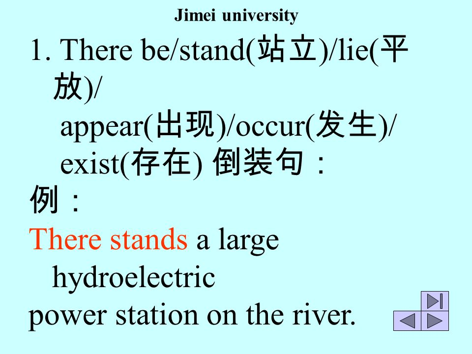 There be/stand(站立)/lie(平放)/ appear(出现)/occur(发生)/ exist(存在) 倒装句: 例: