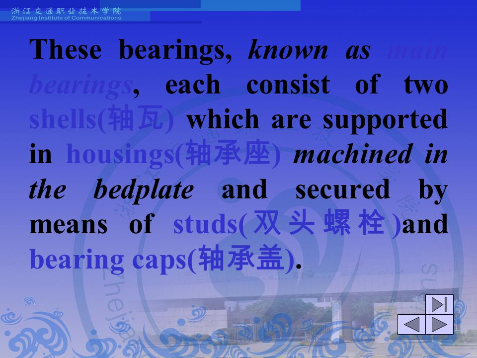 These bearings, known as main bearings, each consist of two shells(轴瓦) which are supported in housings(轴承座) machined in the bedplate and secured by means of studs(双头螺栓)and bearing caps(轴承盖).