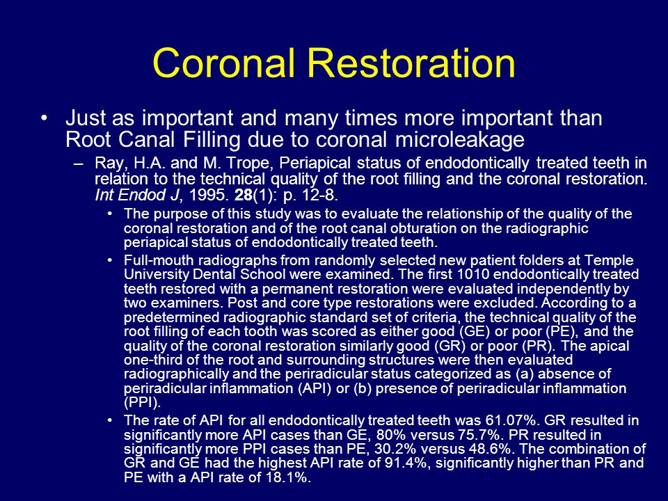 Coronal Restoration Just as important and many times more important than Root Canal Filling due to coronal microleakage.