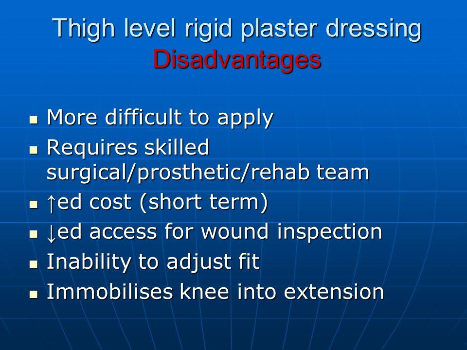 Thigh level rigid plaster dressing Disadvantages