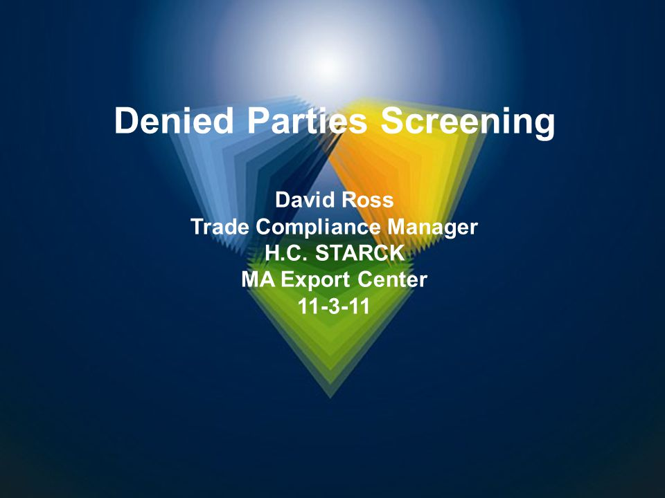 Denied Parties Screening Trade Compliance Manager