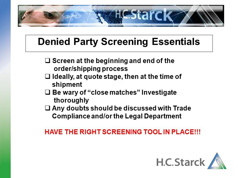 Denied Party Screening Essentials