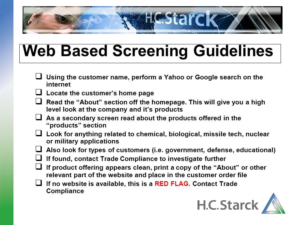 Web Based Screening Guidelines