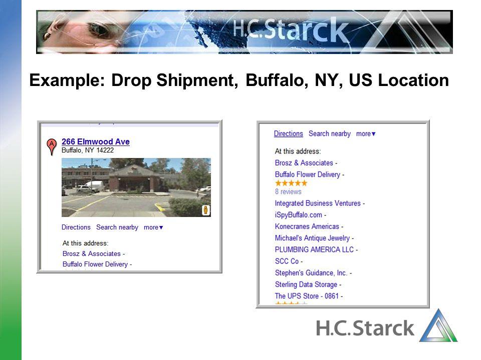 Example: Drop Shipment, Buffalo, NY, US Location