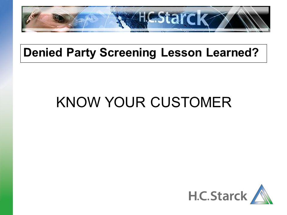 Denied Party Screening Lesson Learned