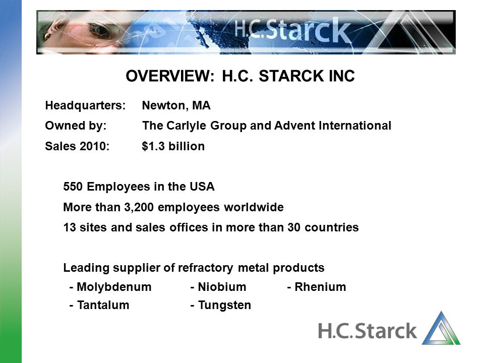 OVERVIEW: H.C. STARCK INC