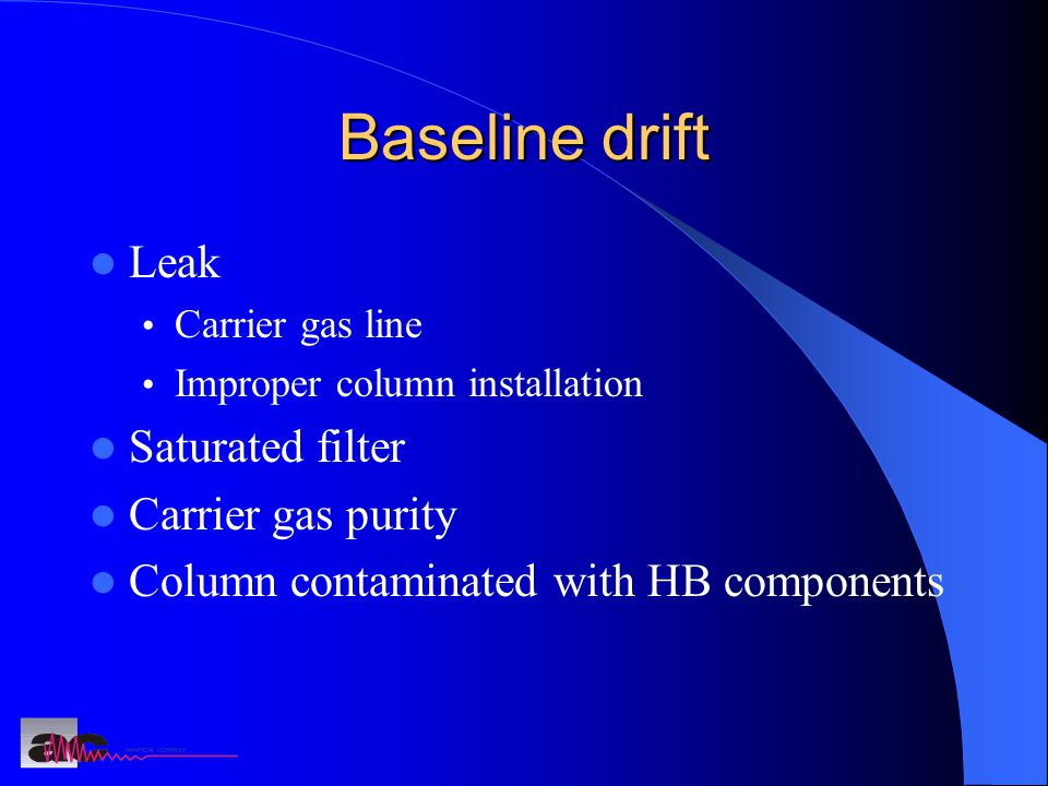 Baseline drift Leak Saturated filter Carrier gas purity
