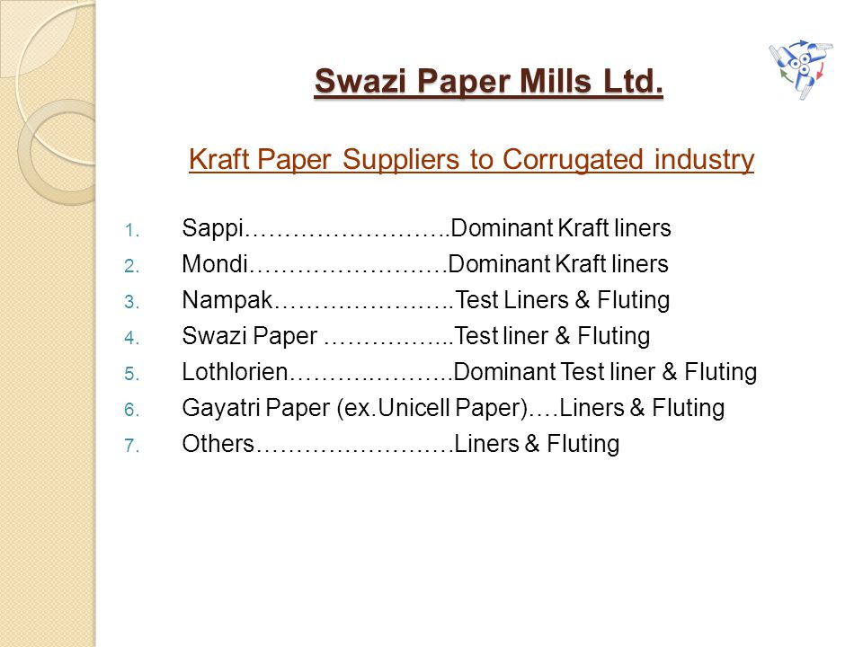 Kraft Paper Suppliers to Corrugated industry