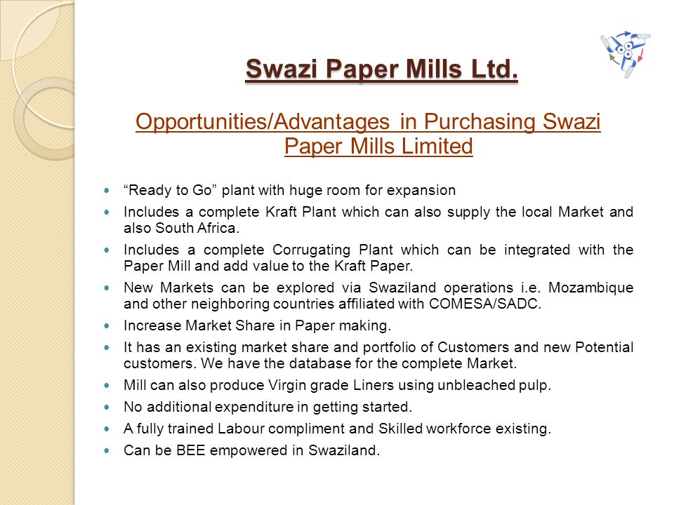 Opportunities/Advantages in Purchasing Swazi Paper Mills Limited