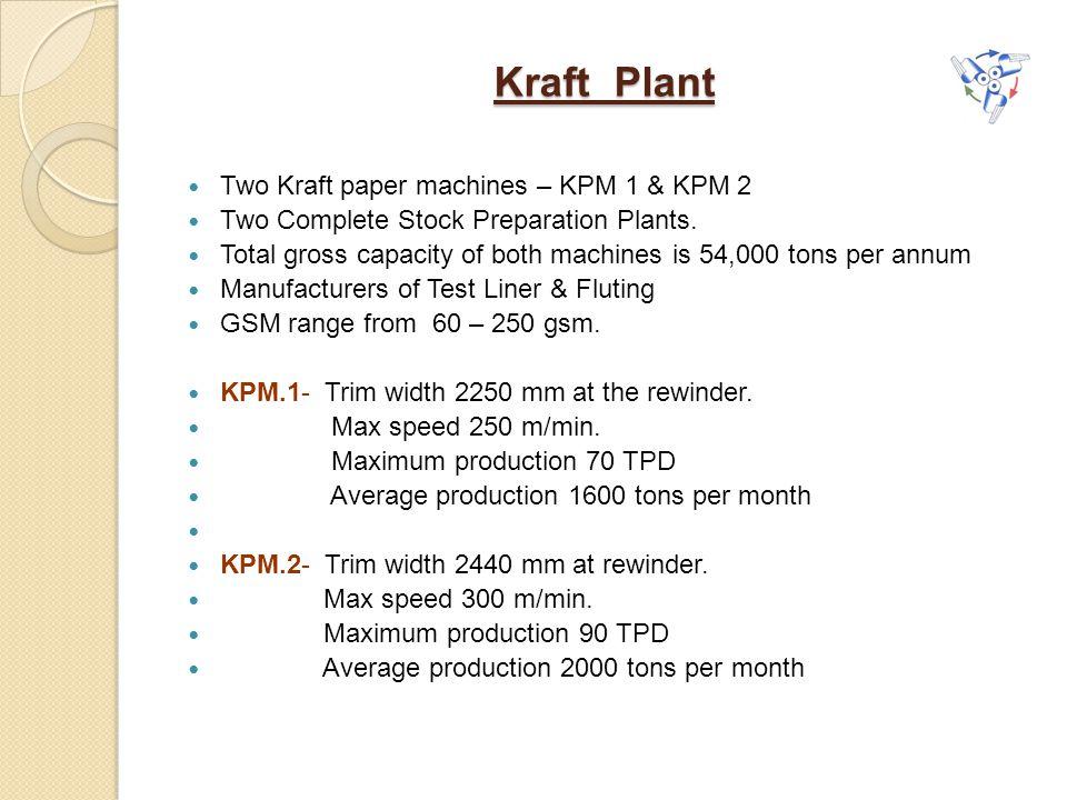 Kraft Plant Two Kraft paper machines – KPM 1 & KPM 2