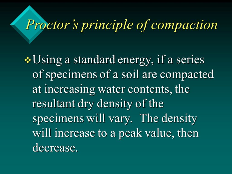 Proctor's principle of compaction