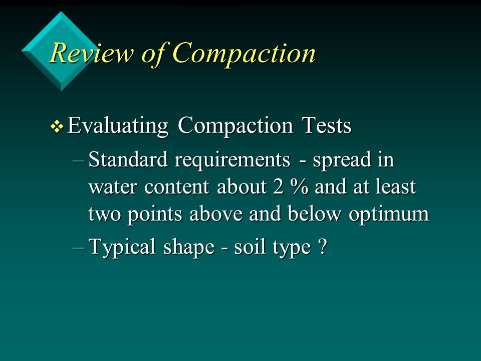 Review of Compaction Evaluating Compaction Tests