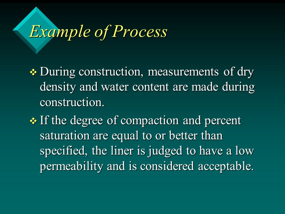 Example of Process During construction, measurements of dry density and water content are made during construction.
