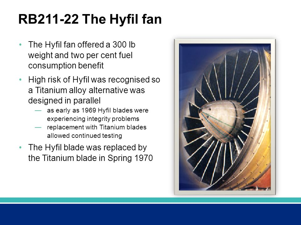 RB211-22 The Hyfil fan The Hyfil fan offered a 300 lb weight and two per cent fuel consumption benefit.