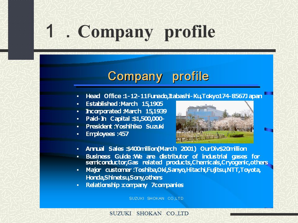 1.Company profile SUZUKI SHOKAN CO.,LTD