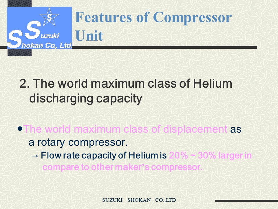 Features of Compressor Unit