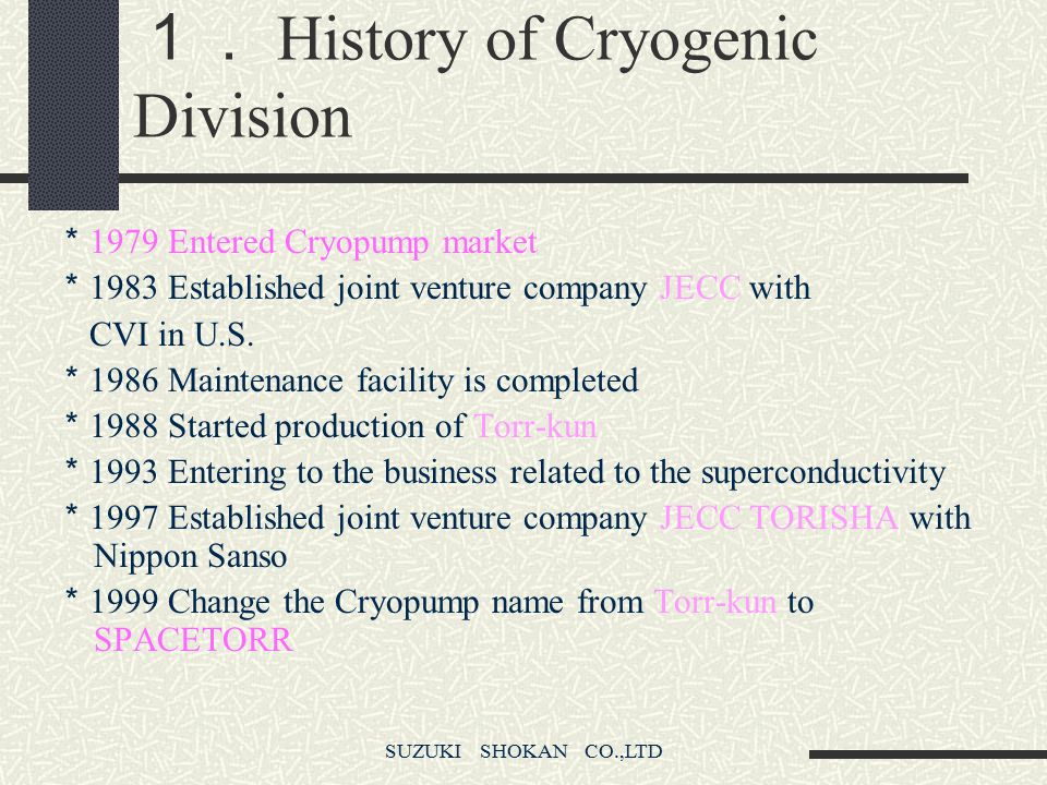 1. History of Cryogenic Division