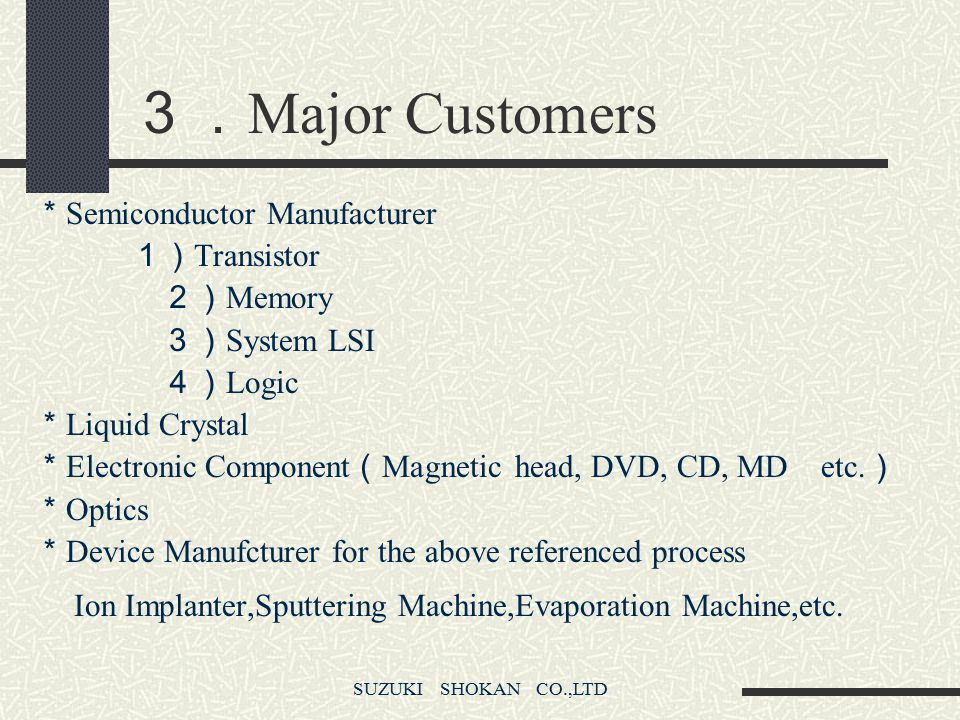 3.Major Customers *Semiconductor Manufacturer 1)Transistor 2)Memory