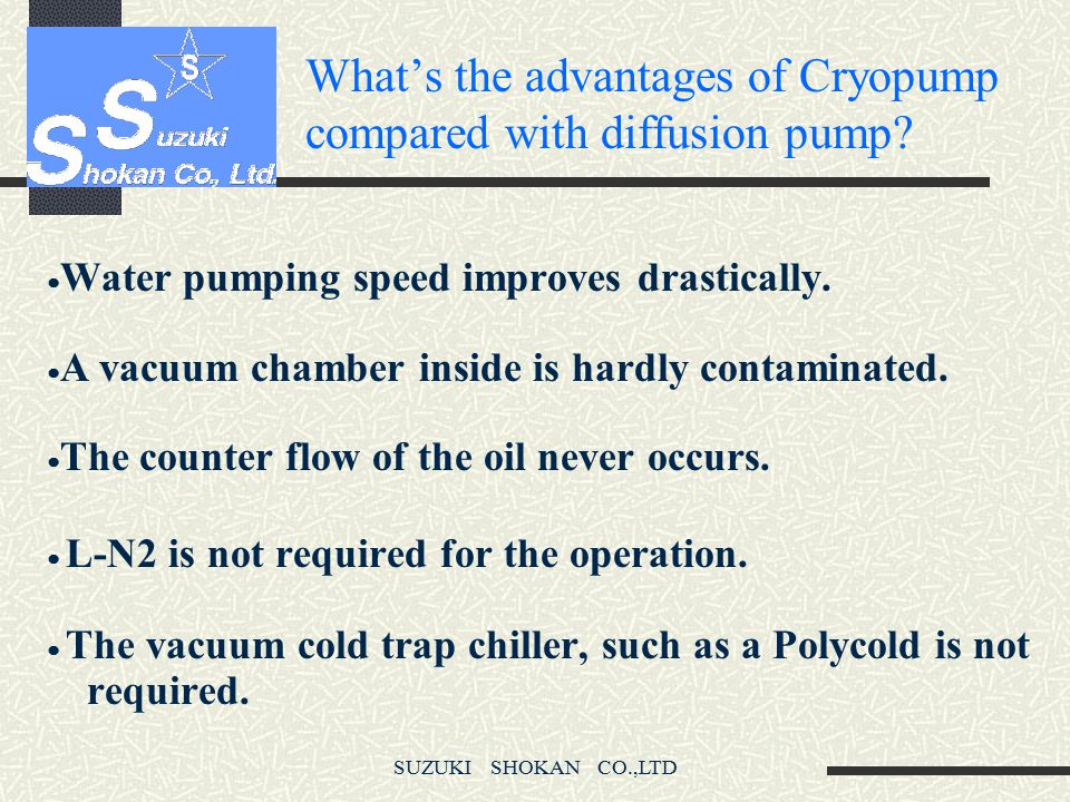 What's the advantages of Cryopump compared with diffusion pump