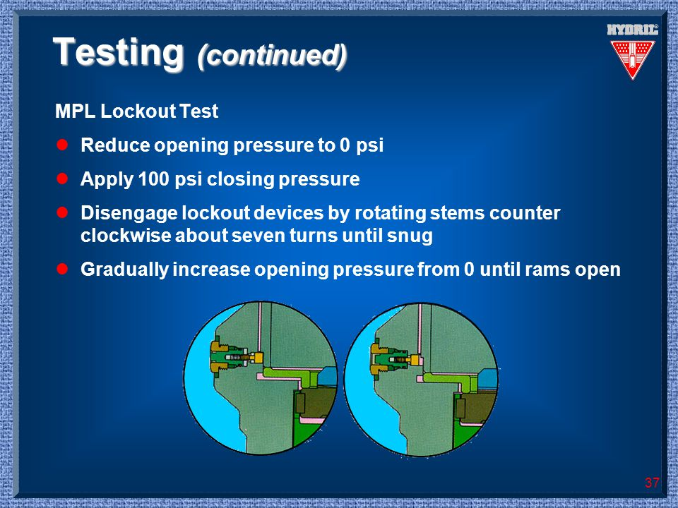 Testing (continued) MPL Lockout Test Reduce opening pressure to 0 psi